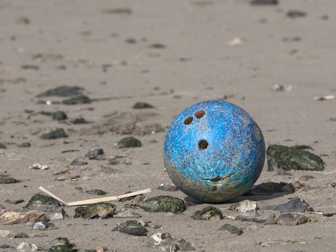 bowling ball on beach