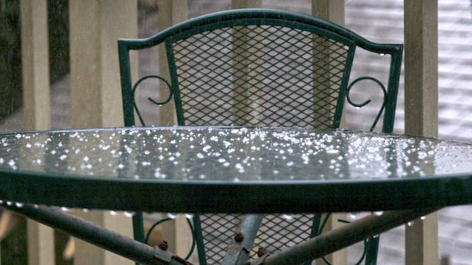 patio table in the rain