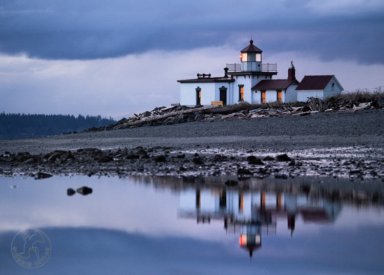 West Point Lighthouse and reflection at Discovery Park Seattle